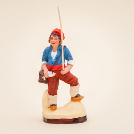 Santon pêcheur à la ligne 7 cms