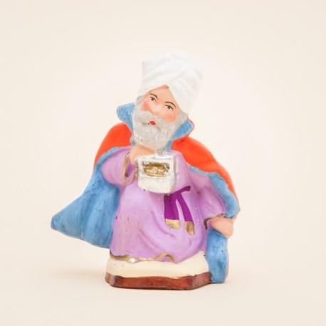 Santons de Provence - Roi mage à genou - Melchior 7 cm - Santons Jacques Flore Aubagne