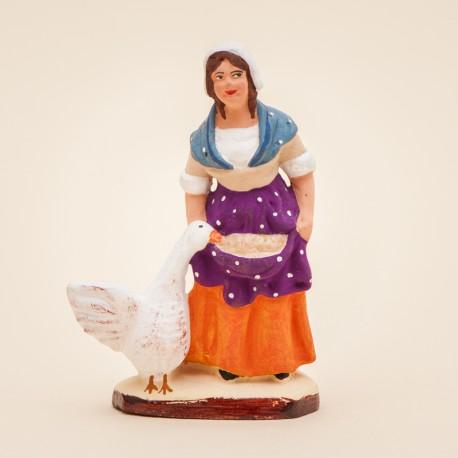 Santons de Provence - Femme à l'oie 7 cm - Santons Jacques Flore Aubagne