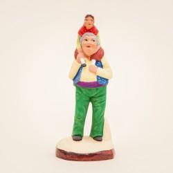 Santons de Provence - Grand-père et sa petite fille 7 cm - Santons Jacques Flore Aubagne