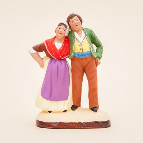 Santons de Provence - Couple jeune 7 cm - Santons Jacques Flore Aubagne