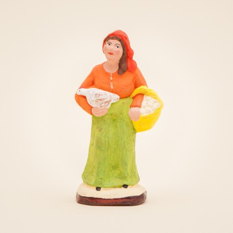 Santon de Provence - Femme à la poule 7 cm - Santons Flore Aubagne
