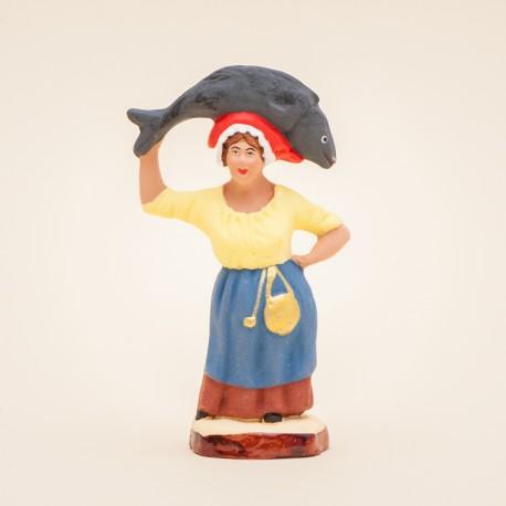 Santon de Provence - Femme au thon 7cm - Pêcheuse - Santons Flore Aubagne