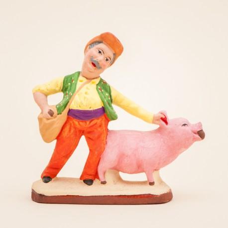 Santon de Provence - Truffier au cochon 7cm - Rabassier - Santons Flore