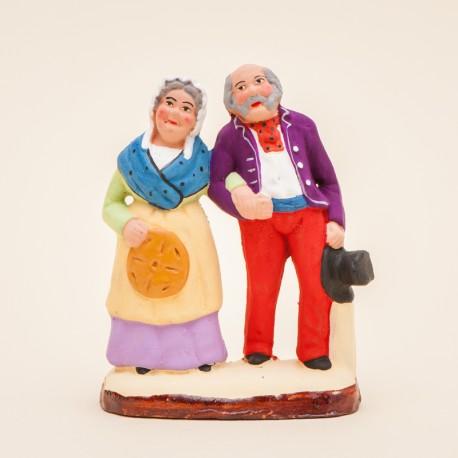 Santon de Provence - Couple de vieux 7cm - Santons Flore Aubagne