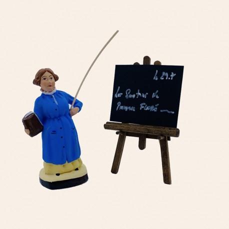 Santon de Provence - Maîtresse d'école 7cm - Institutrice et son tableau - Santons Flore Aubagne