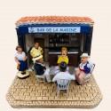 Santon La partie de cartes, Marius et Fanny dans le bar de la marine - Pagnol