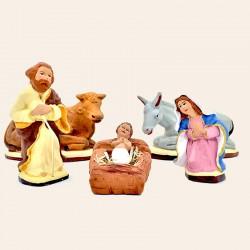 Santon de Provence - Santon de la sainte famille - Nativité complète - Santons Flore Aubagne
