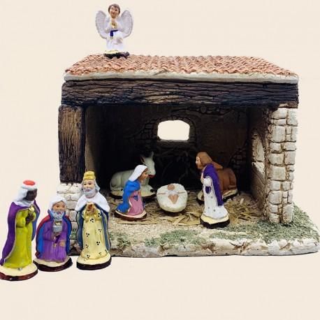 Santon de Provence - La nativité complète 4cm et son étable - Santons Flore Aubagne