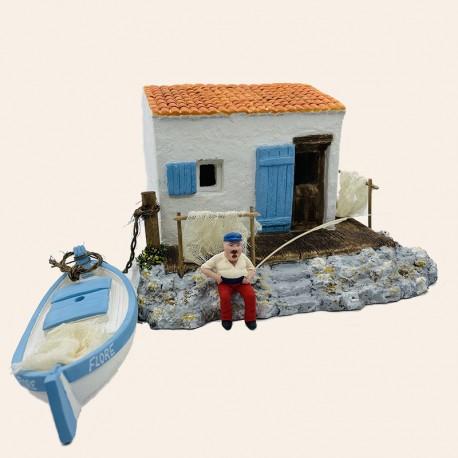 Santon Provence - Crèche de noël - Le Cabanon des goudes, le pêcheur et sa barque - Santons Flore